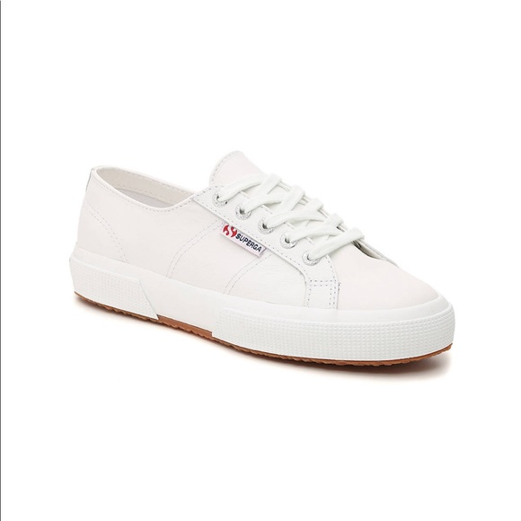 Superga Shoes | White Leather Sneakers